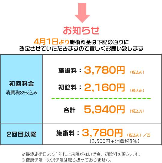 逗子市はまの整骨院料金表02